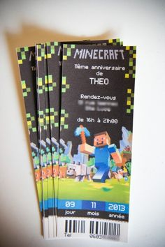 Carton D'invitation fete minecraft a imprimer - Recherche Google