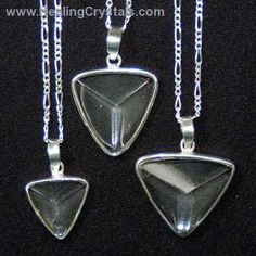 Gemstone Pendants - Clear Quartz Faceted Triangle Pendant- Clear Quartz - Healing Crystals