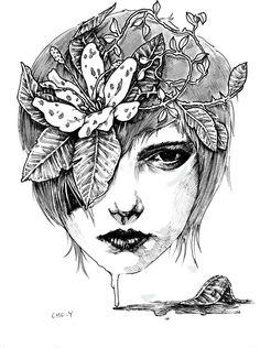 pen illustration melting flower