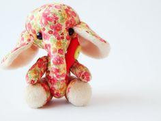 Red fabric elephant. Cloth art toy. Little stuff by LevchenkoDoll, $24.00