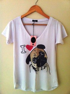 Camiseta Estampa Pug (I love dogs) - Lilou Chic Couture