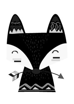 Wall Décor - Monochrome Tribal Fox Print - The Kids Print Store  sc 1 st  Pinterest : black and white nursery wall art - www.pureclipart.com
