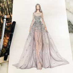 Fashion illustration by Eris Tran Fashion Illustration Sketches, Fashion Sketches, Illustrations, Trendy Fashion, Fashion Art, Fashion Design Drawings, Drawing Fashion, Dress Sketches, Dress Drawing