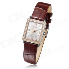 Clerc A8004T Womens Fashionable Leather Band Analog Quartz Watch - Rose Gold + Brown (1 x 626)