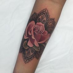 ellietattoo I love doing these decorative roses. Thanks teejay! My last tattoo as a 27 year old haha wooo!