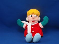 New product '1999 Stuffins Frosty the Snowman KAREN Doll' added to Dirty Butter Plush Animal Shoppe! - $8.00 - 1999 Stuffins Plush 8 inch KAREN Doll from TV Cartoon Christmas Animation Frosty the Snowman - Blond Doll - White Ear Mu…