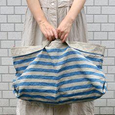 *石川ゆみさんデザイン 簡単&かわいいバッグのキット*。海のボーダーバッグのキット「リネン・キット」