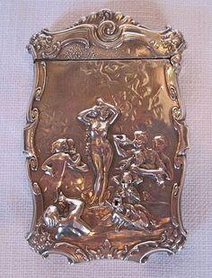 Antique Sterling Silver Match Safe Vesta Nude Bacchanal