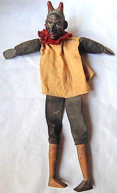 Unique Vintage Antique Devil Cloth Hand Puppet - Wood Head Folk Art Carving