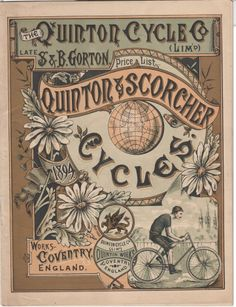 Price List from the Quinton Cycle Co., early 20th century, Coventry, England #Booktower