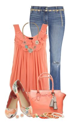 Fashionable Spring Combination This simply stunning combination features a bright orange top, blue jeans, stylish handbag, absolutely stunning flats with a gorgeous spring flavor and beautiful jewelry as well. Perfect combination for spring.