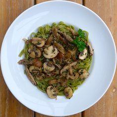 Pasta verde con Funghi al Limone | lillyson