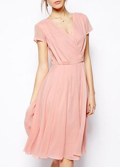 Rose chiffon dress Would look great with gold belt and shoes- and in Tiffany Blue would be GREAT for bridesmaid dresses! Trendy Dresses, Cute Dresses, Vintage Dresses, Beautiful Dresses, Short Dresses, Pink Dresses, Dresses 2014, Short Blush Dress, Short Chiffon Dress