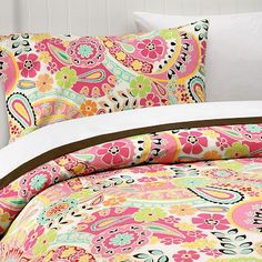 paisley pop duvet in dark pink - cute for girls' room for Ally's big girl bed!