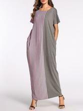 Gray Stripes Paneled Shift Short Sleeve Maxi Dress