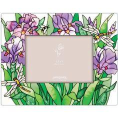 "Joan Baker Designs, Purple Irises Art Glass Photo Frame, 8"" x 9.5"" — $25"