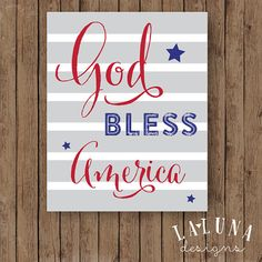 God Bless America Sign, 4th of July Decoration, 4th of July Sign, Patriotic Decor