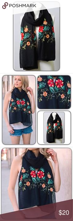 "Gorgeous Chic Lightweight Floral Scarf NEW Instantly update your look with this absolutely gorgeous lightweight floral embroidered scarf. 90% Polyester - 10% Cotton. 71"" x 28""   • Bundle & Save • Top Rated Seller • Fast Shipping Accessories Scarves & Wraps"