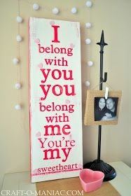Craft-O-Maniac: You're My Sweetheart- Song Lyric Painted Board