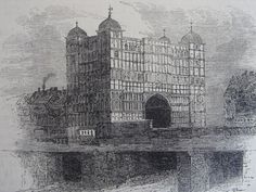"""""""Nonsuch House"""" wood engraved print published in Old and New London, about This was a was a four-story house on London Bridge, completed in 1579 and demolished in the century. Set in a page of text with text on the reverse. Size x 9 cms plus margins. London Bridge, London City, London Drawing, London History, Tudor History, Engraving Printing, London Boroughs, Wooden Buildings, Or Mat"""