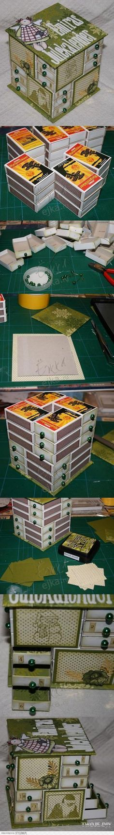 Altered art tiny drawers created with match boxes-would be cool to do a similar item with the card boxes I have currently being the drawers