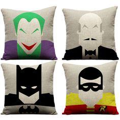 Batman pillow, super hero, robin, joker, batman, alfred, batcave,... ($124) ❤ liked on Polyvore featuring home, home decor, throw pillows, batman throw pillow and linen throw pillows