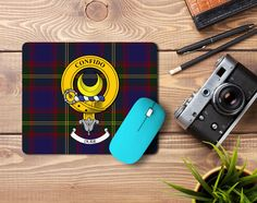 Rubber mousemat with Durie Crest and tartan  - only from ScotClans