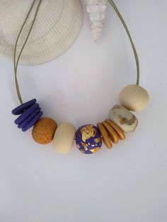 Beaded Necklace Polymer clay necklace Birthday gift Purple and gold beads Christmas gift gift for mom gift for wife Chunky necklace Diy Clay Earrings, Polymer Clay Necklace, Polymer Clay Crafts, Polymer Clay Beads, Jewelry Ideas, Diy Jewelry, Handmade Necklaces, Handmade Jewelry, Cauliflower Cheese