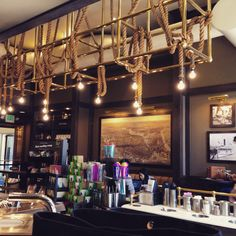 Nautical themed Starbucks cafe by the seaside in Boston. a nice cafe design, decor and workspace for the day. Outdoor seating as well. Interior Design Work, Cafe Design, Seaside Cafe, Small Coffee Shop, Nautical Interior, Outdoor Seating, Nautical Theme, Seashells, Starbucks