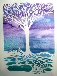 Brilliant Mountains Ketubah Papercut Wedding Artwork by jerise