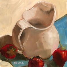 """Daily Paintworks - """"Strawberries and Cream"""" by Elaine Juska Joseph"""