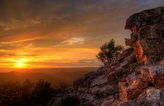 The fading sun illuminates the summit of Duncan Knob in western Virginia.
