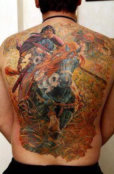 Knight on horse tattoo