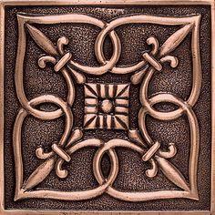 """Massalia Copper 4"""" x 4"""" Fleur de Lis Deco Accent Tile"""
