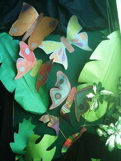Tropical leaves and butterflies.  Gorgeous!