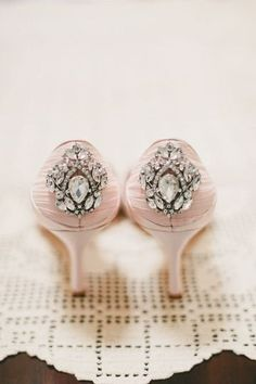 Blush wedding shoes with embellishment - blush heels {WINK!}