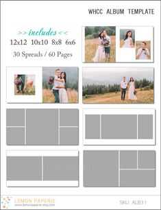 SALE 10x10 WHCC Album Template 60 Page - Includes 12x12, 10x10, 8x8, 6x6 - INSTANT Download - ALB31