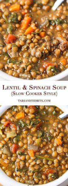 A delicious, nutritious and filling soup with the optional but strongly recommended kick of spice! Lentil & Spinach Soup (Slow Cooker Style) A delicious, nutritious and filling soup with the optional but strongly recommended kick of spice Sopas Light, Slow Cooker Recipes, Cooking Recipes, Cooking Tips, Cooking Games, Lentils Crockpot Recipes, Easy Cooking, Slow Cooker Meal Prep, Slow Carb Recipes