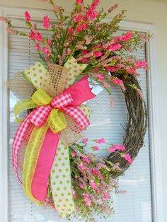 Spring wreath Easter wreath Double door by CottageHouseWreaths