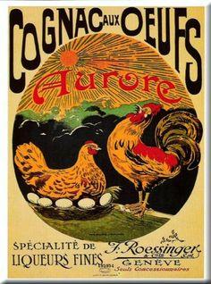 plaque métal 20x15 cm publicite retro cognac aux œufs: Amazon.fr: Cuisine & Maison