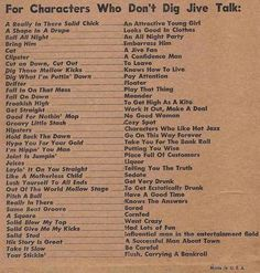 """Jive talking...  I almost fell out when I had a client ask me """"Baby, can you dig?""""  I wasn't sure if I should say """"you betcha'!"""" or """"Not so much.""""  I needed this chart!"""