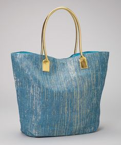 Love this Blue & Gold Tote on #zulily! #zulilyfinds