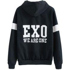 EXO Black Sweater Long Sleeve Hoodie Chen Kai Baekhyun Jacket Pullover... ($23) ❤ liked on Polyvore featuring outerwear, coats, long sleeve pullover, long sleeve coat, sports coat, sport coat and sweater pullover