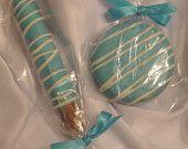 Tiffany Blue Chocolate Covered Oreo Edible Wedding Favor Baby Shower Communion Christening Birthday Party Bridal Shower Candy Treats. $15.00, via Etsy.