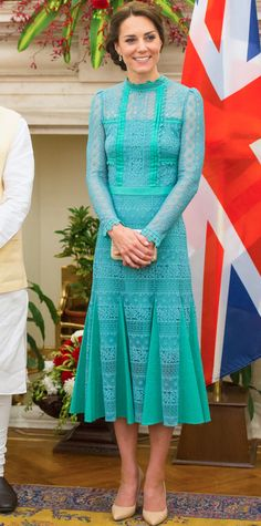 Kate Middleton was radiant for her meeting with India's Prime Minister Narenda Modi in New Delhi, choosing a jade green lace Temperley London design (just one of her many, many looks from her trip to India) that she accessorized with a tiny drop gemstone earrings, a woven clutch, and nude pumps.