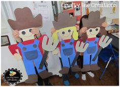 These turned out so cute! Loving these Farmer Cut and Paste patterns. Fall Preschool, Kindergarten Crafts, Preschool Crafts, Craft Activities For Kids, Crafts For Kids, Craft Ideas, Farm Classroom Decorations, Elementary Classroom Themes, Classroom Ideas