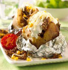 Bakt potet med kjøttdeig