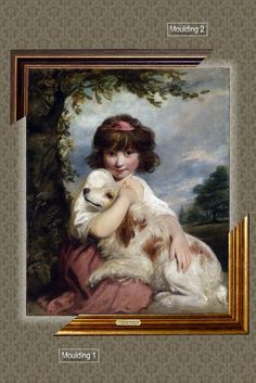 Canvas framed print, A Young Girl and Her Dog, Joshua Reynolds, giclee canvas, gold framed, nameplate by GoldFramedCanvas on Etsy