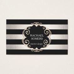 Chic Black and Silver Striped Designer (no shine) Business Card