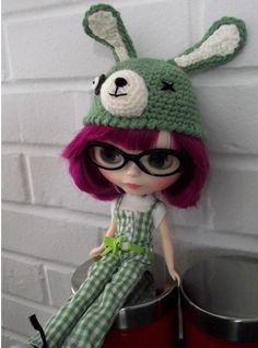 c922c781c76 EssHippo Blythes  Zombie Bunny Hat Crochet Bunny